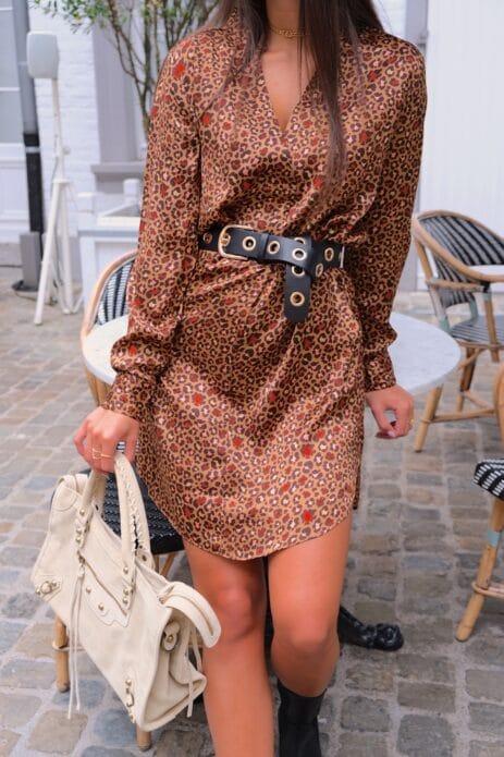 Robe à motif léopard camel avec sac gaga beige