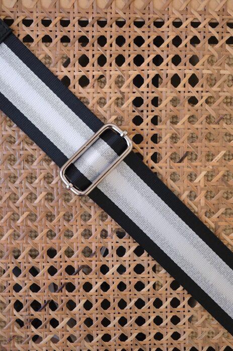 Bandoulière à motif ligné noir / argenté