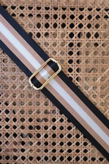 Bandoulière à motif ligné noir / bronze