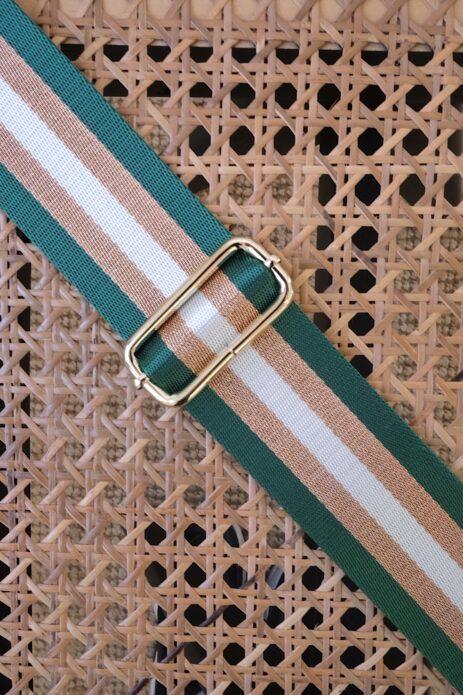 Bandoulière à motif ligné vert / bronze