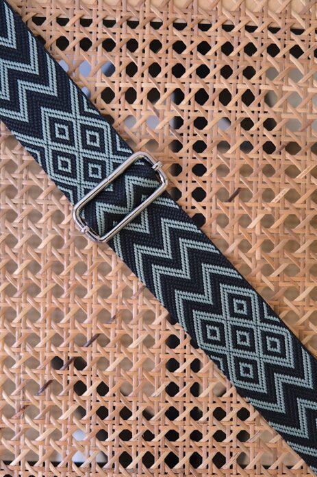 Bandoulière à motif zigzag noir et vert d'eau
