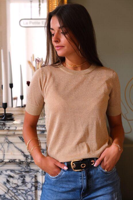 T-shirt pailleté lurex beige