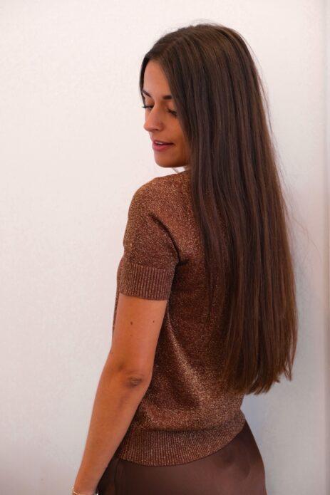 T-shirt pailleté lurex marron de profil