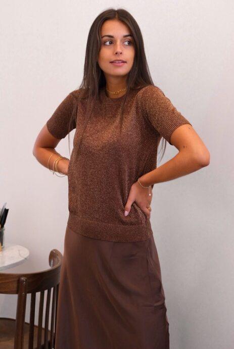T-shirt pailleté lurex marron