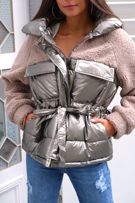 Doudoune bi-matière métallique avec ceinture à la taille