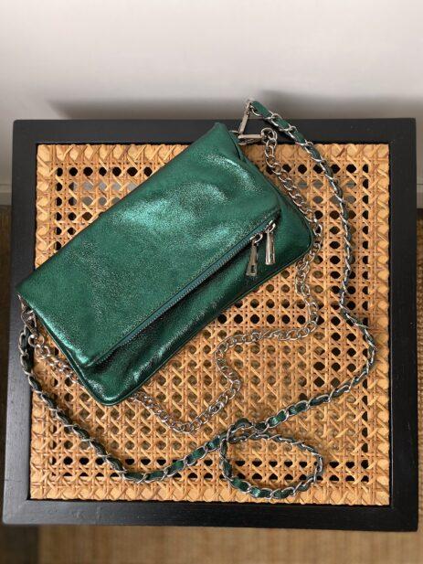 Sac pochette kaki métallisée avec chaînes argentées